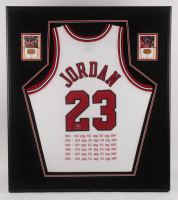 Michael Jordan Signed LE Chicago Bulls 33.5x38 Custom Framed MVP Stat Jersey Display (UDA COA) at PristineAuction.com