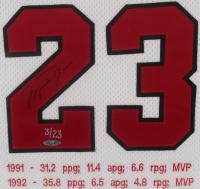 Michael Jordan Signed LE Chicago Bulls 33.5x38 Custom Framed MVP Stat Jersey Display (UDA COA) at PristineAuction.com