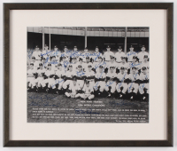 1956 New York Yankees World Series Champion 11.25x13.25 Custom Framed Print Display Signed by (24) with Mickey Mantle, Yogi Berra, Whitey Ford, Enos Slaughter, Don Larsen (JSA LOA) at PristineAuction.com