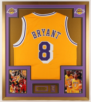 Kobe Bryant Los Angeles Lakers 32x36 Custom Framed Jersey with Pin at PristineAuction.com