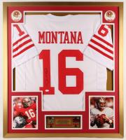 Joe Montana Signed San Francisco 49ers 32x36  Custom Framed Jersey Display with (2) Super Bowl Pins (JSA COA) at PristineAuction.com