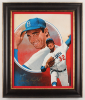 Sandy Koufax Signed Brooklyn Dodgers 22x26 Custom Framed Original Painting Display (PSA LOA) at PristineAuction.com