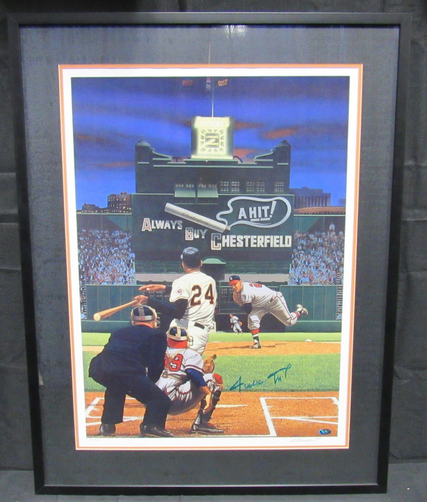 Willie Mays Signed San Francisco Giants 20x28 Custom Framed Lithograph Display (JSA Hologram) at PristineAuction.com