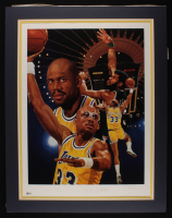 Kareem Abdul-Jabbar Signed Los Angeles Lakers LE 25x32 Custom Matted Lithograph (Beckett COA) at PristineAuction.com