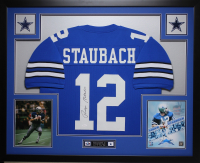Roger Staubach Signed 35x43 Custom Framed Jersey (JSA COA) at PristineAuction.com