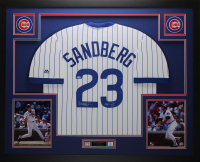 "Ryne Sandberg Signed 35x43 Custom Framed Jersey Inscribed ""HOF 05"" (TriStar Hologram) at PristineAuction.com"