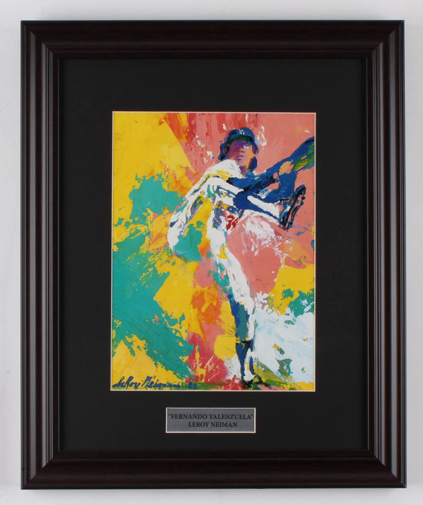 "LeRoy Neiman ""Fernando Valenzuela"" 13x15.5 Custom Framed Print Display at PristineAuction.com"