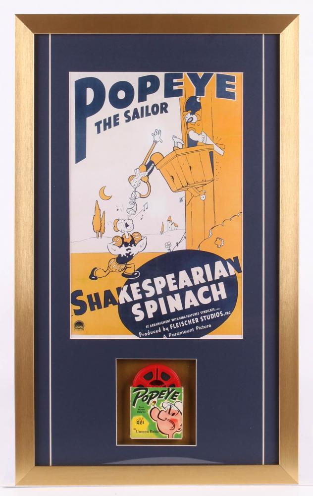 Popeye the Sailor 17x28 Custom Framed Vintage Film Reel Display at PristineAuction.com