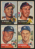 Lot of (4) 1953 Topps Baseball Cards with #37 Eddie Mathews, #41 Enos Slaughter, #77 Johnny Mize, #43 Gil McDougald at PristineAuction.com