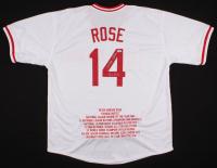 "Peter Edward Rose Signed Career Highlight Stat Jersey Inscribed ""Hit King"" (JSA COA) at PristineAuction.com"