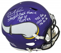 Randy Moss Signed Minnesota Vikings Full-Size Matte Purple Authentic On-Field Speed Helmet with Multiple Career Stat Inscriptions (Beckett COA) at PristineAuction.com