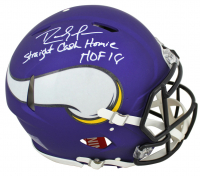 "Randy Moss Signed Minnesota Vikings Full-Size Matte Purple Authentic On-Field Speed Helmet Inscribed ""Straight Cash Homie"" & ""HOF 18"" (Beckett COA) at PristineAuction.com"