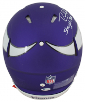 """Randy Moss Signed Vikings Full-Size Matte Purple Authentic On-Field Speed Helmet Inscribed """"Straight Cash Homie"""" & """"HOF 18"""" (Beckett COA) at PristineAuction.com"""