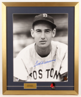 Ted Williams Signed Boston Red Sox 21x25 Custom Framed Photo Display with Williams Pin (PSA LOA & Ted Williams Hologram) at PristineAuction.com