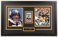 """Jack Lambert Signed Pittsburgh Steelers 18.5X29.5 Custom Framed Trading Card Dosplay Inscribed """"HOF 90"""" (PSA Encapsulated) at PristineAuction.com"""