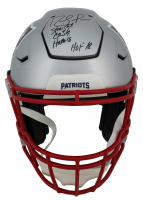 "Randy Moss Signed Patriots Full-Size Authentic On-Field SpeedFlex Helmet Inscribed ""Straight Cash Homie"" & ""HOF 18"" (Beckett COA) at PristineAuction.com"