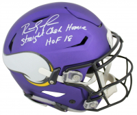 "Randy Moss Signed Vikings Full-Size Matte Purple Authentic On-Field SpeedFlex Helmet Inscribed ""Straight Cash Homie"" & ""HOF 18"" (Beckett COA) at PristineAuction.com"