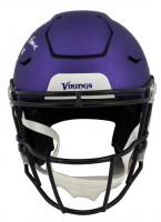 "Randy Moss Signed Vikings Full-Size Authentic On-Field Matte Purple SpeedFlex Helmet Inscribed ""Straight Cash Homie"" & ""HOF 18"" (Beckett COA) at PristineAuction.com"