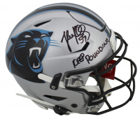 "Luke Kuechly Signed Panthers Full-Size Authentic On-Field SpeedFlex Helmet Inscribed ""Keep Pounding!"" (Beckett COA) at PristineAuction.com"