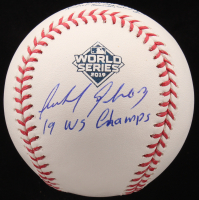 """Anibal Sanchez Signed Official 2019 World Series Baseball Inscribed """"19 WS Champs"""" (Beckett COA) at PristineAuction.com"""