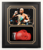 Floyd Mayweather Jr. Signed 22x26x4 Custom Framed Boxing Glove Shadow Box Display (JSA COA) at PristineAuction.com