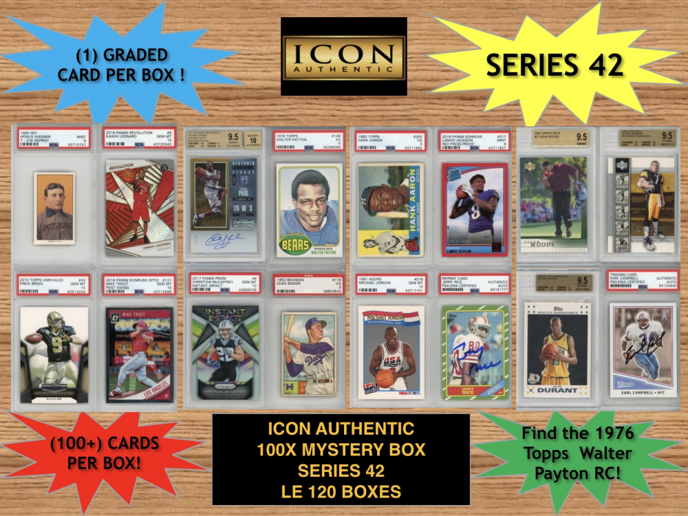 Icon Authentic 100x Series 42 Mystery Box (100+ Cards per Box) at PristineAuction.com