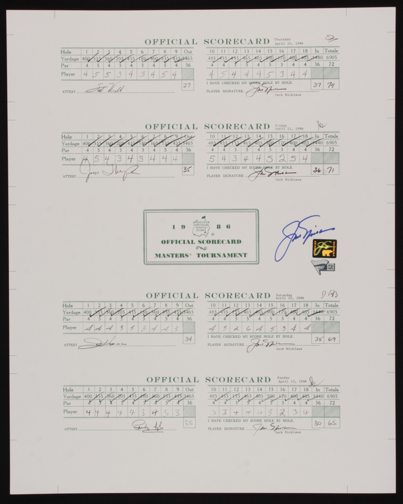 Jack Nicklaus Signed 16x20 1986 Masters Tournament Scorecard Print (Fanatics Hologram & Nicklaus Hologram) at PristineAuction.com