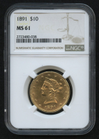 1891 $10 Liberty Head Gold Eagle (NGC MS 61) at PristineAuction.com