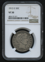 1913-S 50¢ Barber Half Dollar (NGC VF 30) at PristineAuction.com