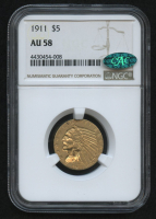 1911 $5 Five Dollars Indian Head Half Eagle Gold Coin (NGC AU 58) (CAC) at PristineAuction.com