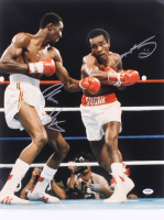 "Sugar Ray Leonard & Thomas ""Hitman"" Hearns Signed 16x20 Photo (PSA COA) at PristineAuction.com"
