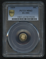1859 50¢ Fractional Gold Token - BG-1002 (PCGS MS 63) at PristineAuction.com