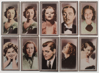 """1936 Godfrey Phillips """"Stars of the Screen"""" Complete Set of (48) Cigarette Cards with #25 Shirley Temple, #9 Joan Crawford, #12 Clark Gable, #15 Katharine Hepburn, #2 Myrna Loyn at PristineAuction.com"""