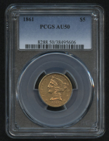 1861 $5 Liberty Head Half Eagle Gold Coin (PCGS AU 50) at PristineAuction.com