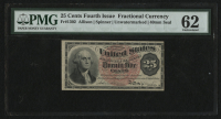25¢ Twenty Five Cents United States Spinner Fractional Bank Note - Unwatermarked - Civil War Currency (Fourth Issue) (PMG 62) at PristineAuction.com