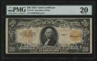 1922 $20 Twenty Dollars U.S. Gold Certificate Bank Note (PMG 20) at PristineAuction.com