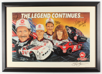 "Dale Earnhardt, Dale Earnhardt Jr., Kelly Earnhardt, & Kerry Earnhardt Signed ""The Legend Continues"" 22x31 Custom Framed Print Display (JSA LOA) at PristineAuction.com"