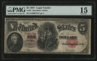 1907 $5 Five Dollars U.S. Legal Tender Bank Note (PMG 15) at PristineAuction.com