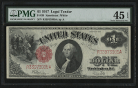 1917 $1 One Dollar U.S. Legal Tender Bank Note (PMG 45) (EPQ) at PristineAuction.com