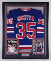 Mike Richter Signed New York Rangers 33.25x41.25 Custom Framed Jersey Display (JSA COA) at PristineAuction.com