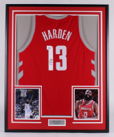 James Harden Signed Houston Rockets 33.25x41.25 Custom Framed Jersey Display (Beckett COA) at PristineAuction.com