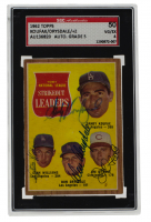 1962 Topps #60 NL Strikeout Leaders Signed by (4), with Sandy Koufax, Stan Williams, Don Drysdale & Jim O'Toole (SGC 4) at PristineAuction.com