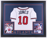 Chipper Jones Signed 35x43 Custom Framed Jersey (JSA COA) (Imperfect) at PristineAuction.com