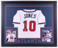 Chipper Jones Signed 35x43 Custom Framed Jersey (JSA COA) (Imperfect) at PristineAuction.com