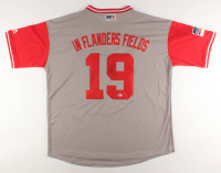 """Joey Votto Signed Cincinnati Reds """"In Flanders Fields"""" Jersey (Beckett Hologram) at PristineAuction.com"""
