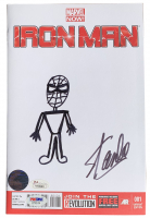 "Stan Lee Signed 2014 ""Iron Man"" Variant Cover Issue #1 Marvel Comic Book with Original Spider-Man Sketch (PSA COA, JSA Hologram & Lee Hologram) at PristineAuction.com"
