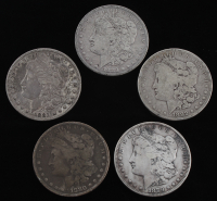 Lot of (5) Morgan Silver Dollars with 1879-S, 1880-O, 1881-S, 1882, & 1883 at PristineAuction.com