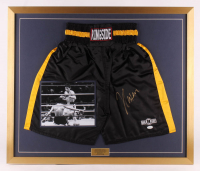 Julio Cesar Chavez Signed 27x32 Custom Framed Boxing Trunks Display (JSA Hologram) at PristineAuction.com