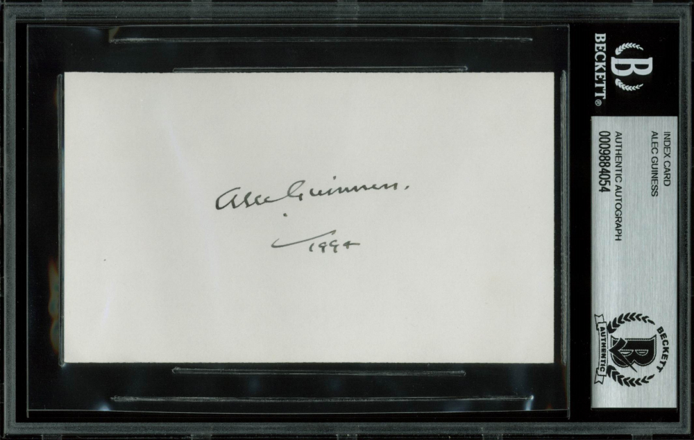 "Alec Guinness Signed ""Star Wars"" 3x5 Index Card Inscribed ""1994"" (BGS Encapsulated) at PristineAuction.com"