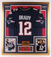 Tom Brady New England Patriots 32x36 Custom Framed Jersey with (3) Super Bowl Pins at PristineAuction.com